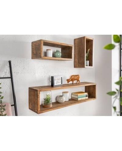 INVICTA półka HEMINGWAY zestaw 3 Mango - brąz, drewno naturalne