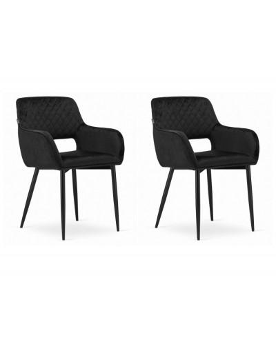 Czarne krzesła ALVIN aksamit tacpierowane krzesło 2szt