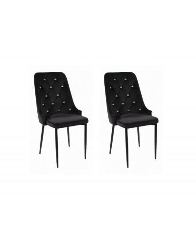 Czarne krzesła tapicerowane GLAMI kryształki krzesło 2szt