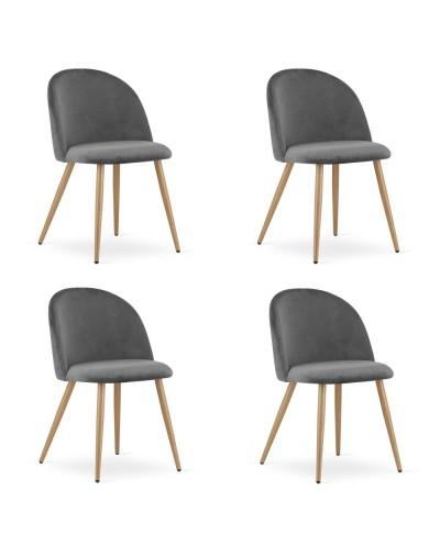 Zestaw krzeseł do jadalni INGAR ciemny szary aksamit 4szt