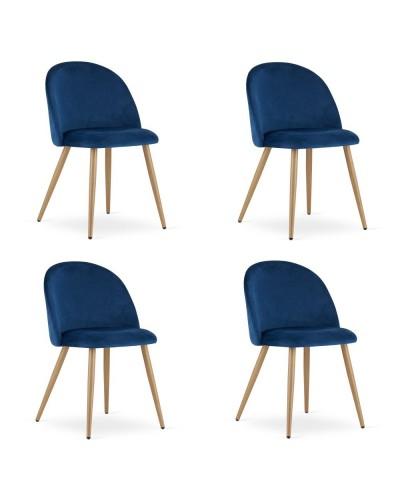 Zestaw krzeseł do jadalni INGAR granatowy aksamit 4szt