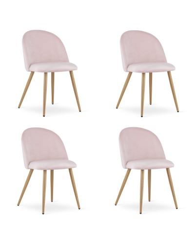 Zestaw krzeseł do jadalni INGAR różowy aksamit 4szt