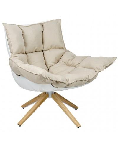 Fotel STAR beżowy - szara tkanina, podstawa drewniana