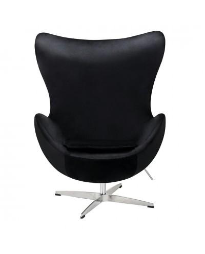 Fotel EGG CLASSIC VELVET czarny - welur, podstawa aluminiowa