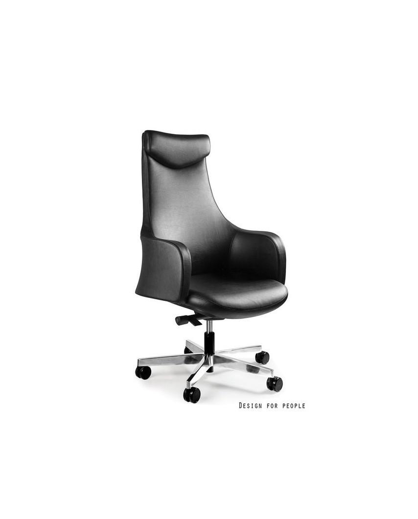 Skórzany fotel biurowy BLOSSOM HL czarny - skóra naturalna
