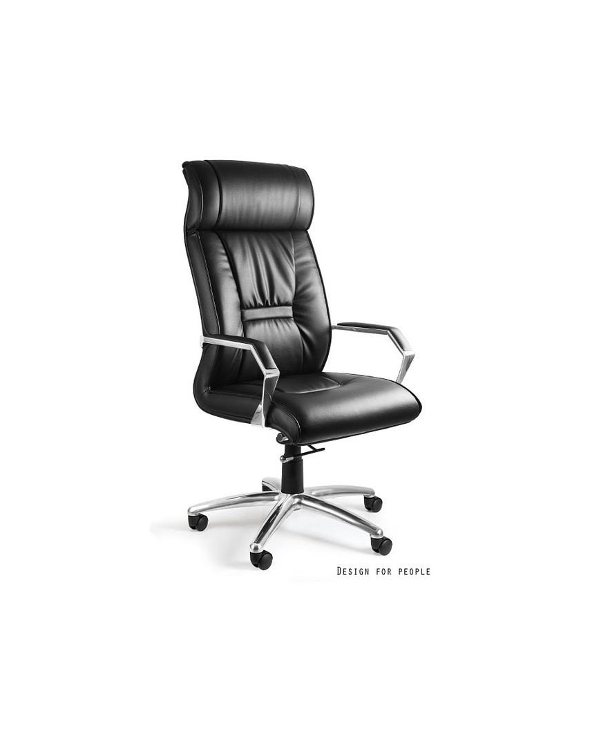 Czarny fotel gabinetowy CELIO PU zagłówek - skóra ekologiczna