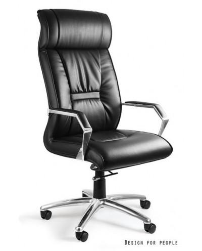 Skórzany fotel gabinetowy CELIO HL czarny skóra naturalna
