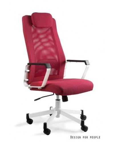 Czerwony fotel biurowy obrotowy FOX siatka - Unique