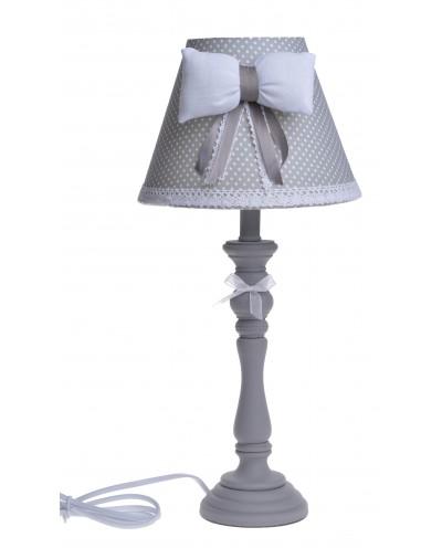LAMPA BEŻOWA ABAŻUR W KROPKI Z KOKARDĄ