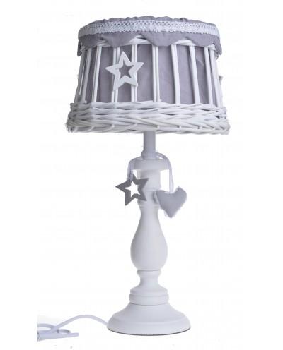 LAMPA BIAŁA WIKLINOWY ABAŻUR Z GWIAZDKAMI DUŻA