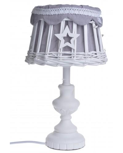LAMPA BIAŁA WIKLINOWY ABAŻUR Z GWIAZDKAMI MAŁA