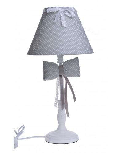 LAMPA BIAŁA Z KOKARDĄ ABAŻUR W KROPKI