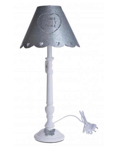LAMPA BIAŁA Z MOTYLEM DUŻA METALOWY KLOSZ HOME SWEET HOME