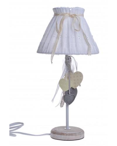 LAMPA Z SERDUSZKAMI ABAŻUR MATERIAŁOWY