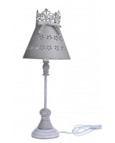 LAMPA SZARA MAŁA Z METALOWYM KLOSZEM