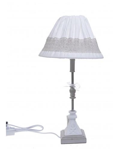 LAMPA BIAŁO BEŻOWA MATERIAŁOWY ABAŻUR KWADRATOWA PODSTAWA ZE WZOREM