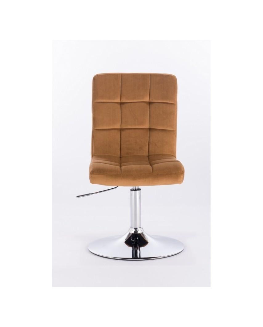 Camelia - fotel tapicerowany miodowym welurem