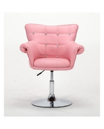 LORA CRISTAL - Fotel różowy z kółkami