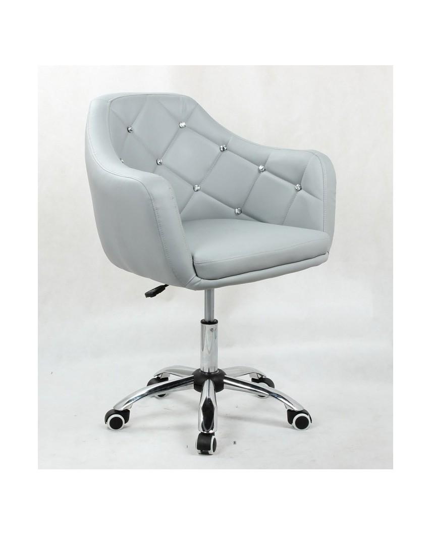 Blink - Szary fotel z kryształkami na podstawie z kółkami.