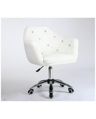 Blink - Fotel z kryształkami biały na kółkach
