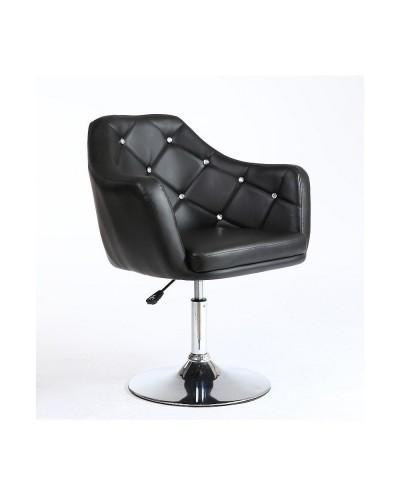 BLINK - Czarny obrotowy fotel do pokoju z kryształkami (chromowany dysk)