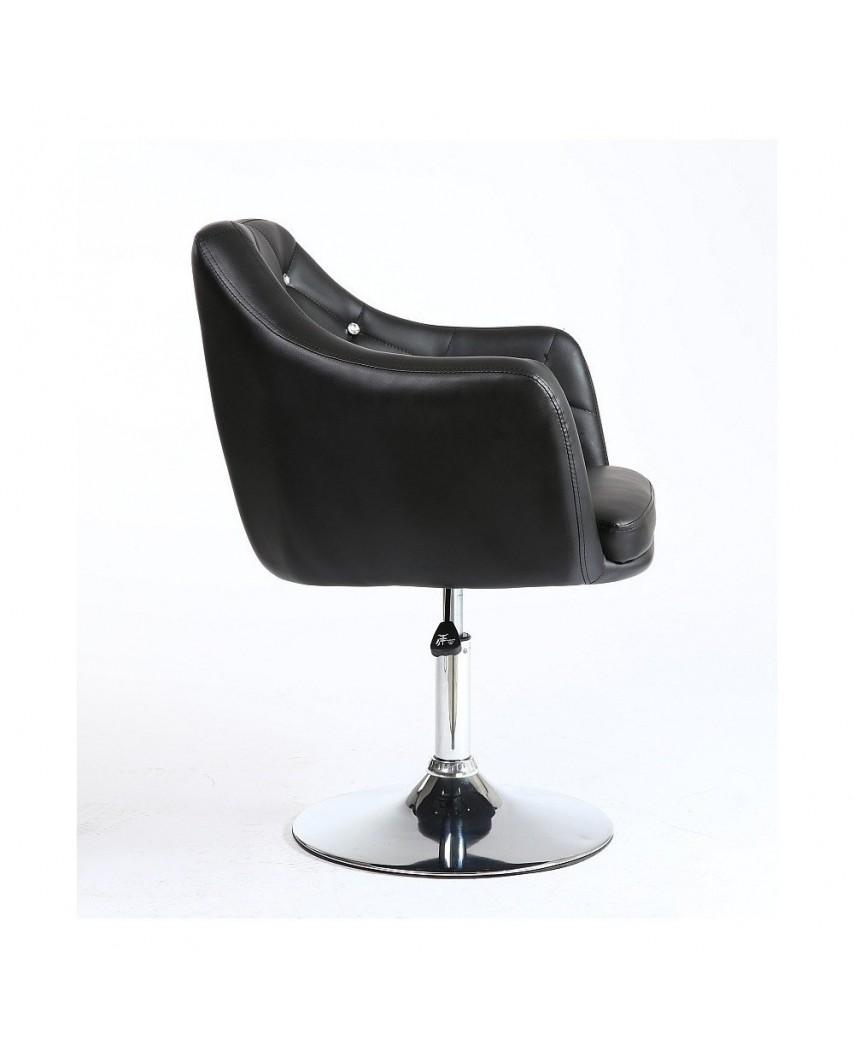 Czarny fotel glamour z kryształkami BLINK