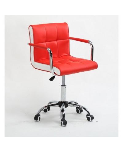 LAO - Krzesło kosmetyczne czerwone - kółka