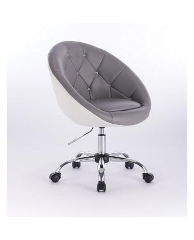BOL CRISTAL- Fotel fryzjerski szaro biały