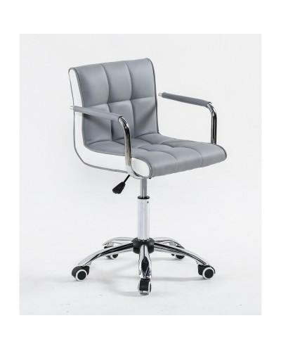 LAO - Krzesło kosmetyczne szare - kółka