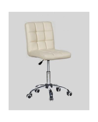 Kris - krzesło kosmetyczne z kółkami kremowe