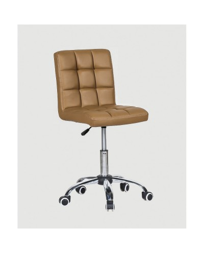 Kris - krzesło kosmetyczne z kółkami karmelowe