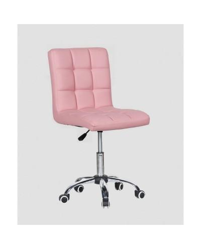 Kris - krzesło kosmetyczne z kółkami różowe