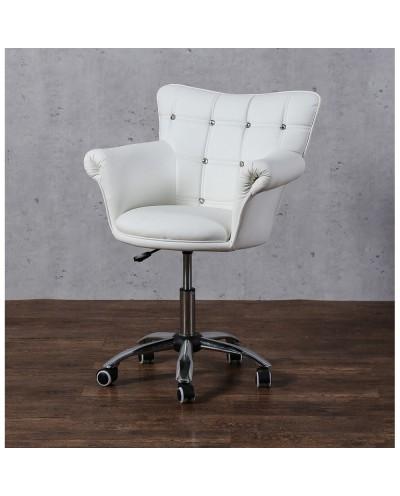 LORA CRISTAL - Fotel fryzjerski biały