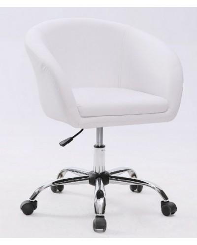 BART- Fotel fryzjerski biały kółka