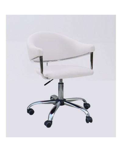 Carole - fotel fryzjerski biały na kółkach