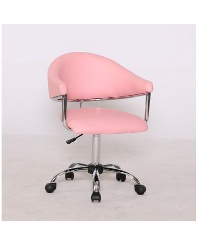 Carole - fotel fryzjerski różowy na kółkach