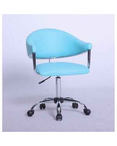 Carole - fotel fryzjerski turkusowy na kółkach