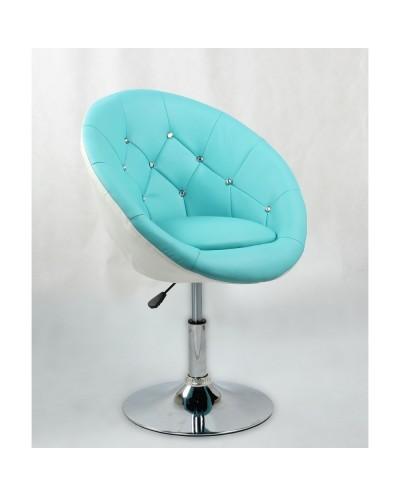 BOL CRISTAL - Fotel fryzjerski turkusowo-biały