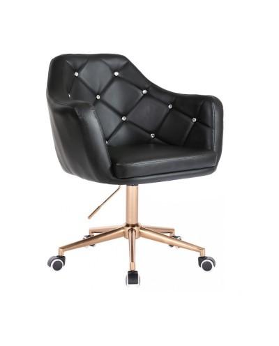 BLINK - Czarny fotel biurowy na kółkach (chrom)