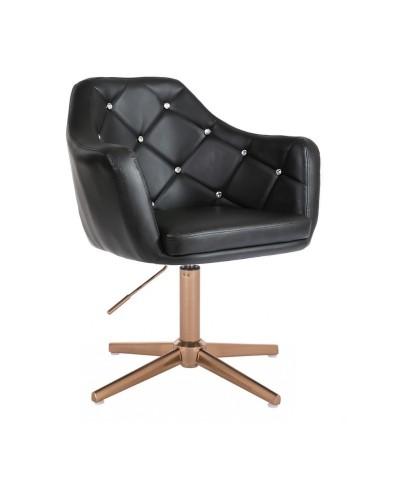BLINK - Czarny fotel glamour (złoty krzyżak)