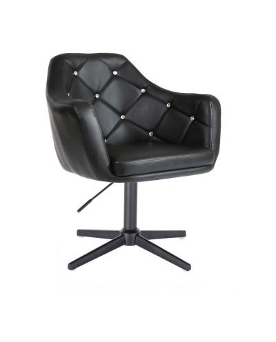 BLINK - Czarny fotel glamour na czarnej podstawie (krzyżak)