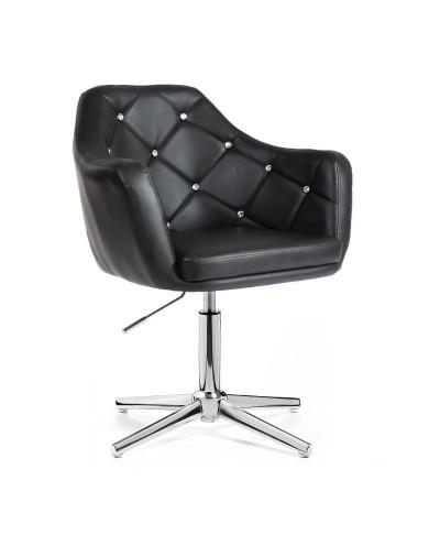 BLINK - Czarny fotel glamour (chromowany krzyżak)