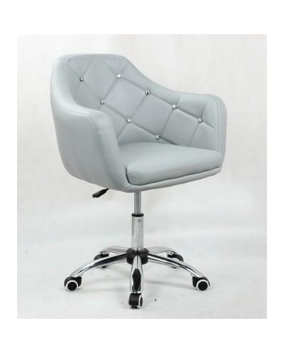 BLINK - Szary fotel biurowy na kółkach (chrom)