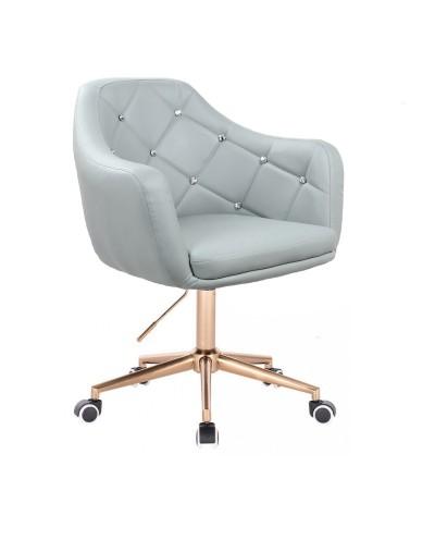 BLINK - Szary fotel biurowy na kółkach (złoty)