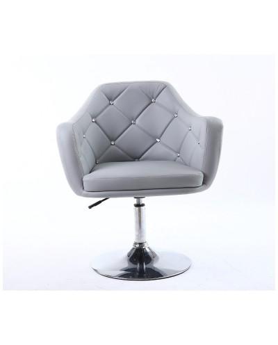 BLINK - Szary obrotowy fotel do pokoju (chromowany dysk)