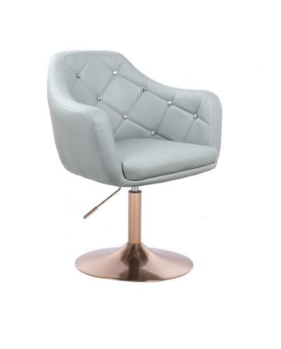 BLINK - Szary fotel do pokoju okrągły (złoty dysk)