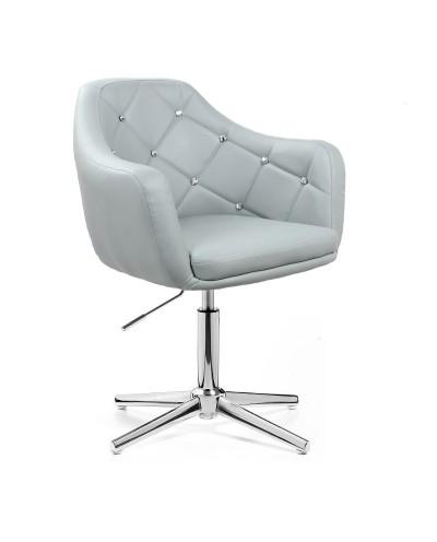 BLINK - Szary fotel glamour (chromowany krzyżak)