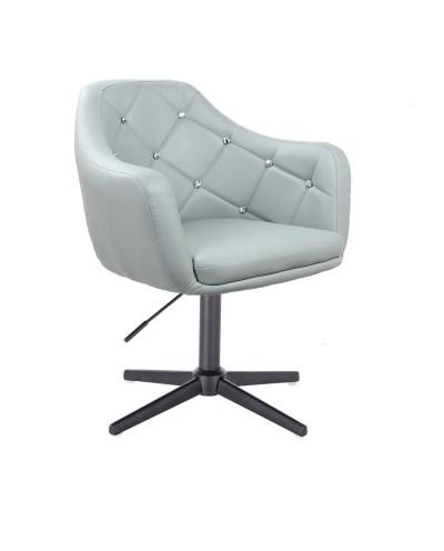 BLINK - Szary fotel glamour do salonu (krzyżak czarny)