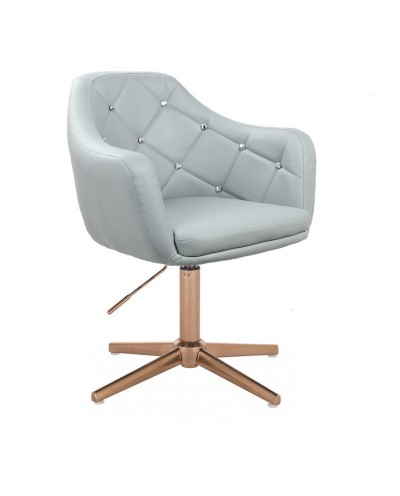 BLINK - Szary fotel do salonu glamour (złoty krzyżak)
