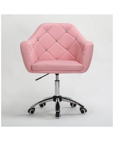 BLINK - Różowy fotel obrotowy na kółkach (chrom)